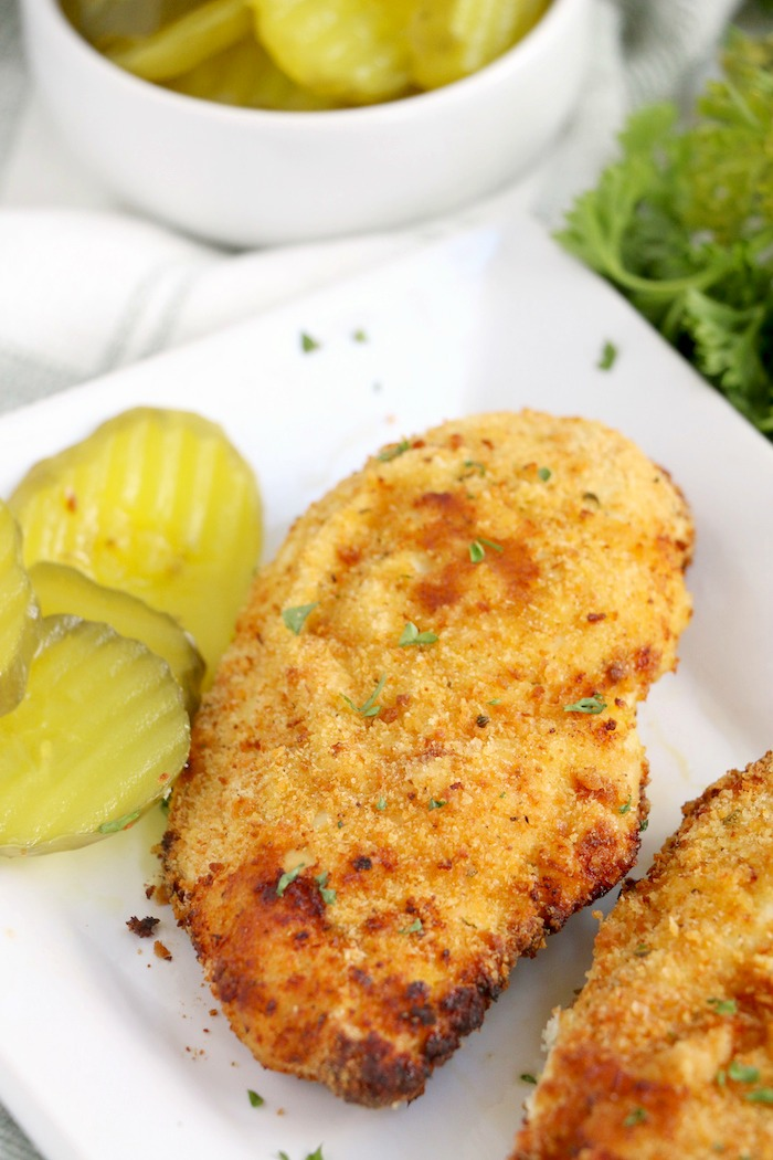 Breaded chicken on plate