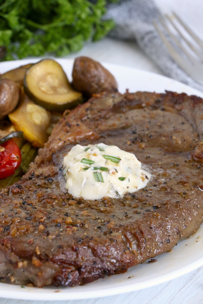 Steak topped with garlic butter