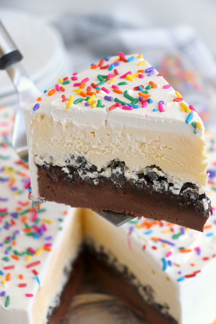 piece of homemade Dairy Queen ice cream cake
