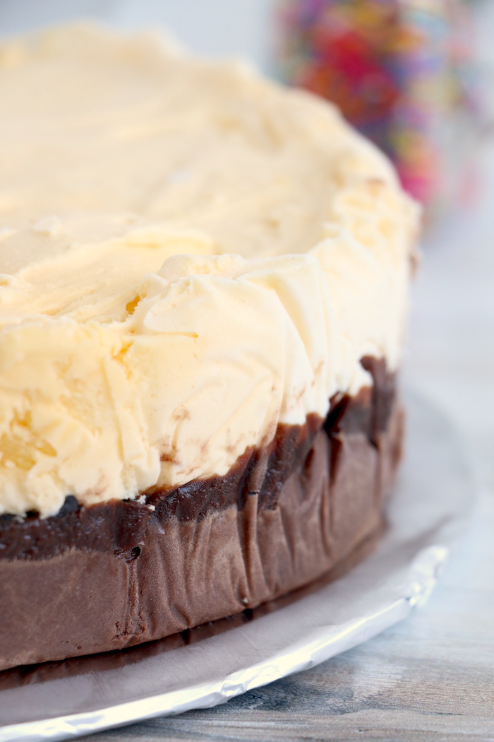 layers of homemade Dairy Queen ice cream cake
