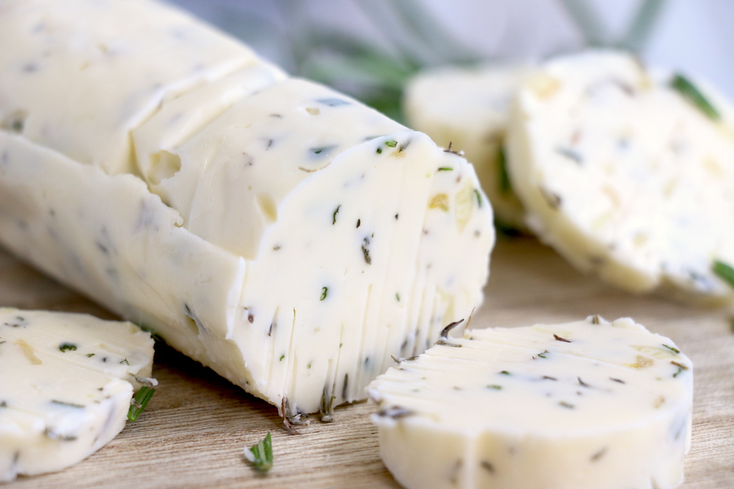 log of garlic herb butter