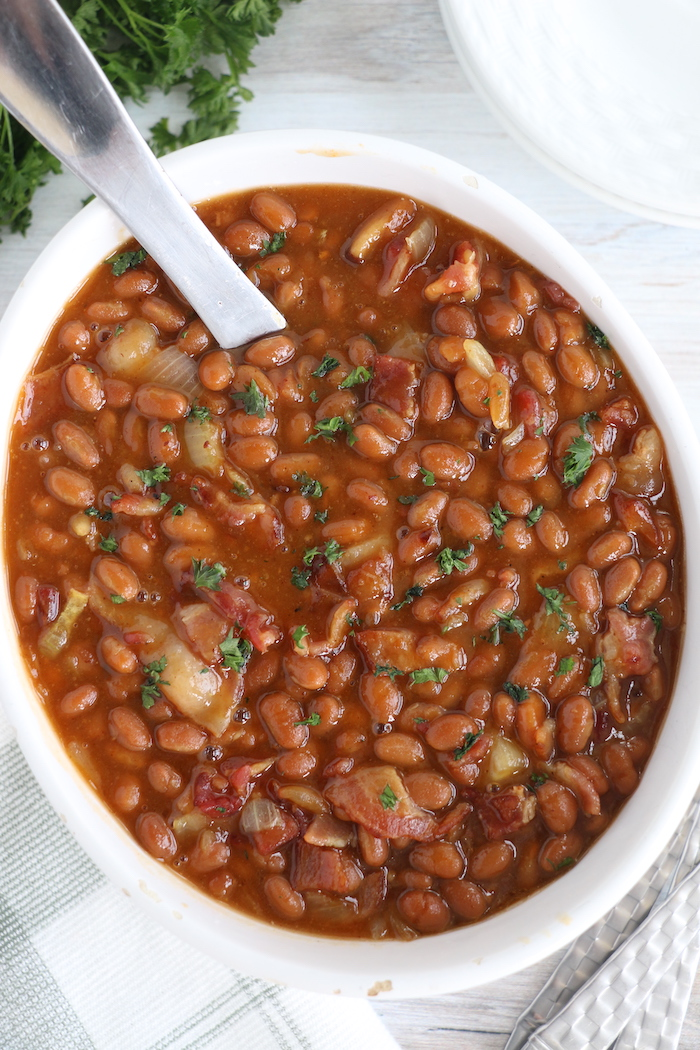 baked beans in baking dish