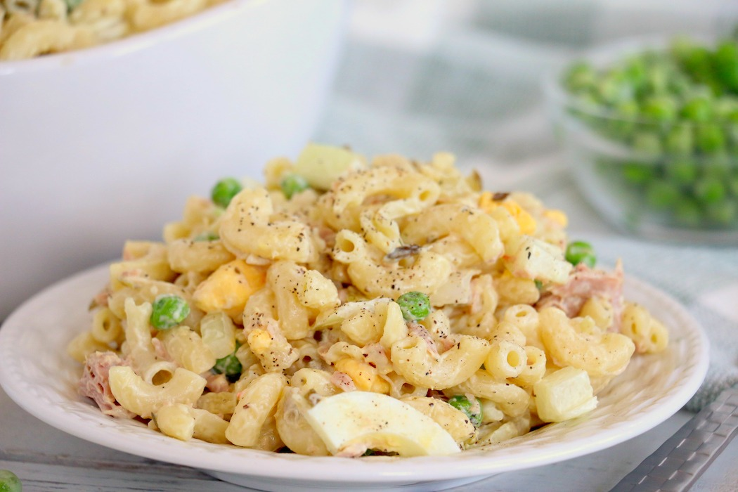 close up of tuna macaroni salad on a plate