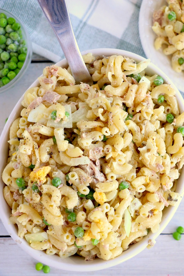 Casserole dish filled with tuna macaroni salad