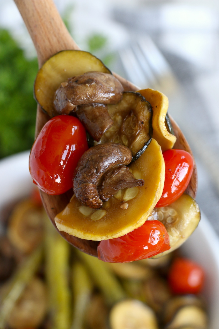 spoonful of balsamic roasted vegetables