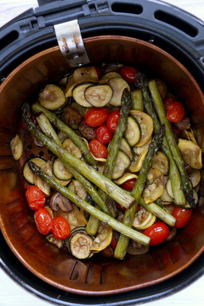 Vegetables cooked in an air fryer