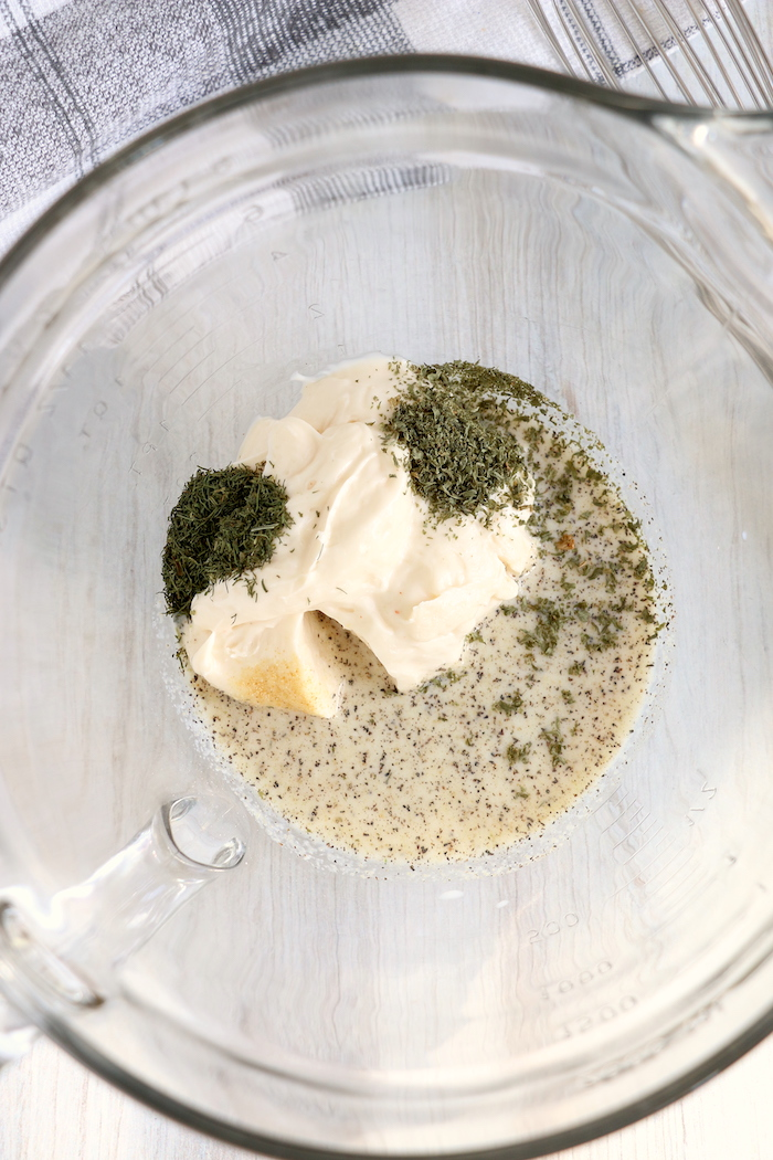 Miracle Whip and spices to make homemade ranch dressing