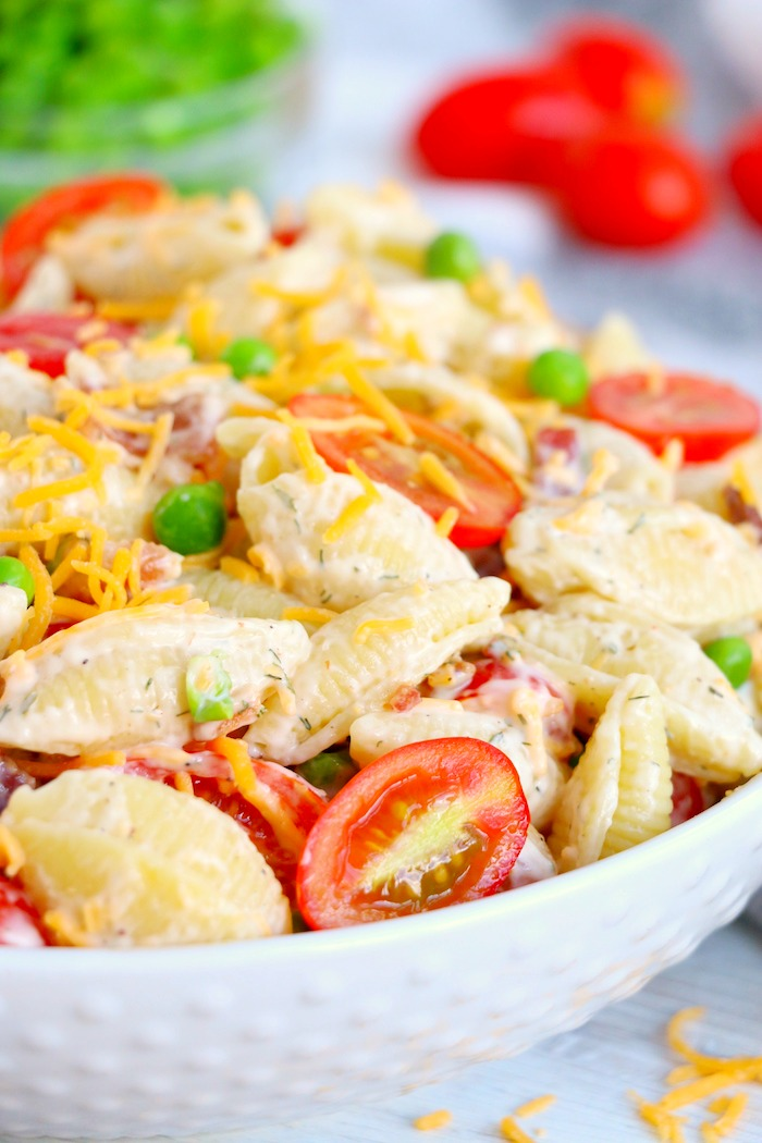 Bacon ranch pasta salad in white bowl