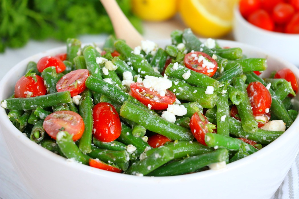 bowl of green bean salad with feta cheese
