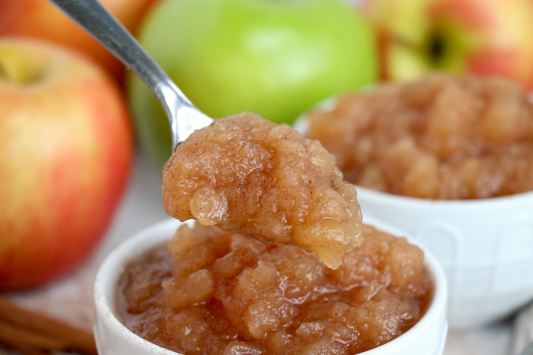 spoonful of homemade applesauce
