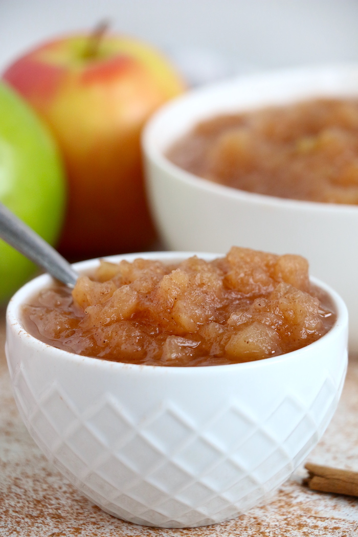 small white bowl of applesauce