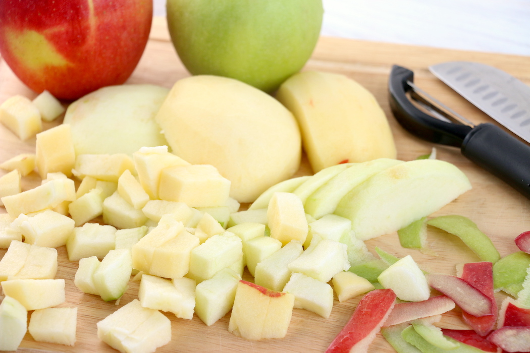 Chopped up red and green apples