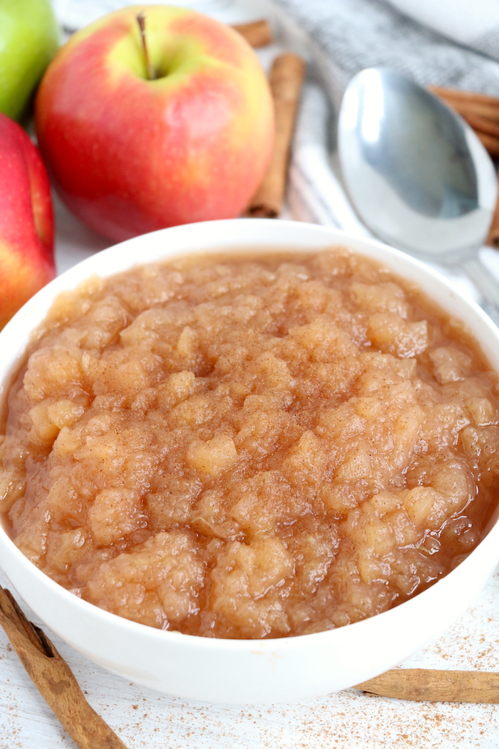 Bowl of applesauce made in the Ninja Foodi