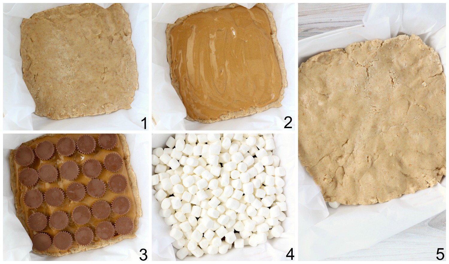 step by step collage with s'mores bars instructions