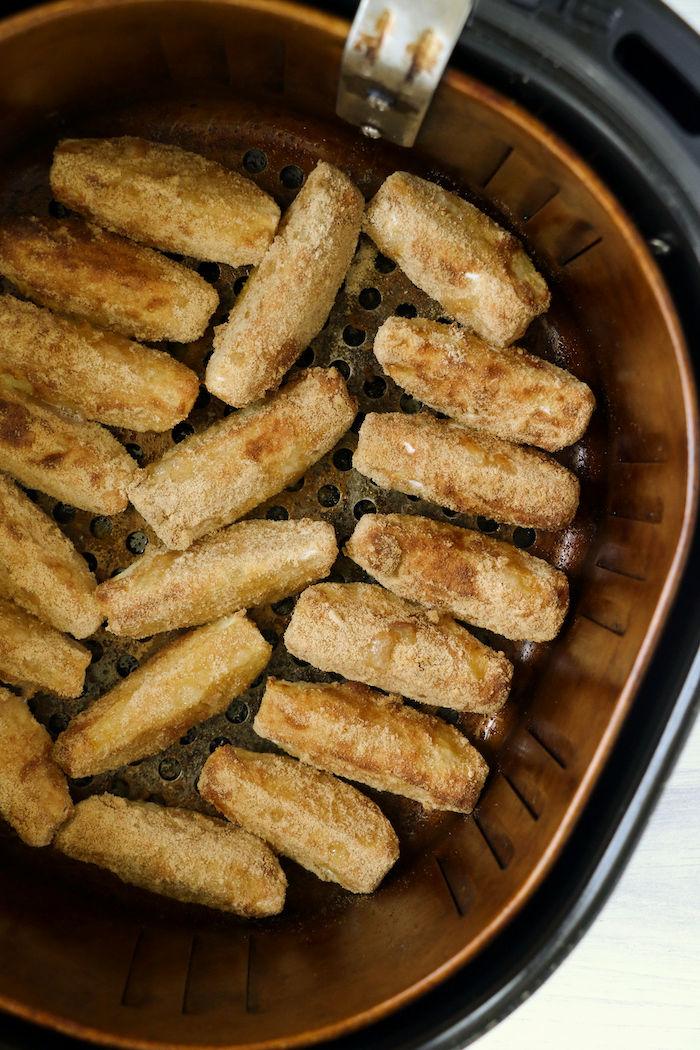 Air fryer apple fries crisped in air fryer