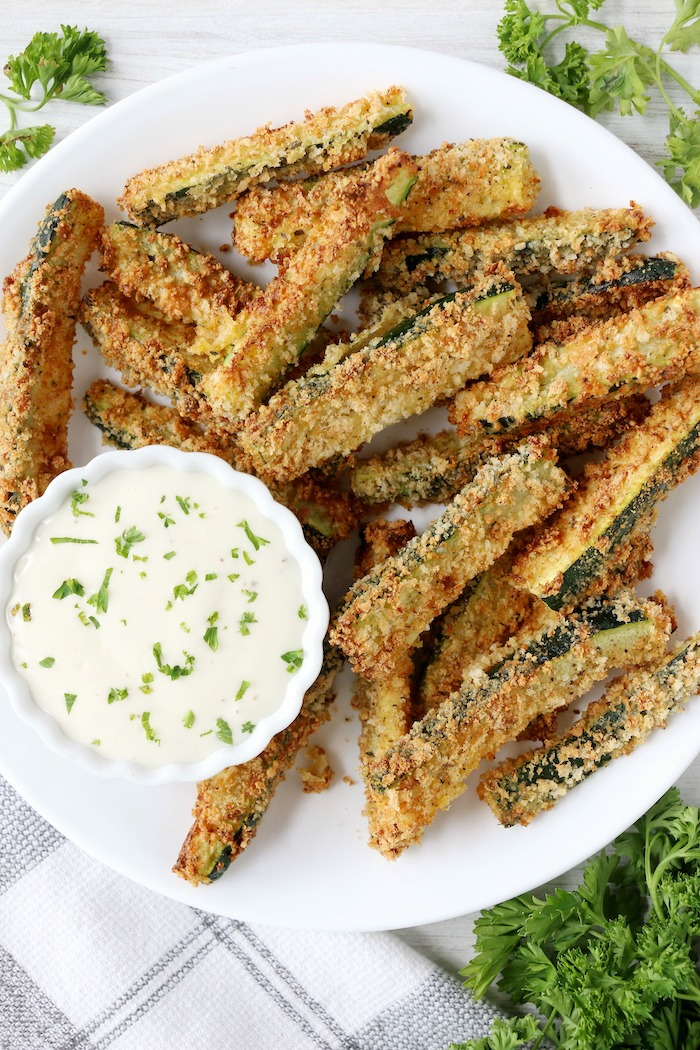 looking down at plate of air fryer zucchini fries