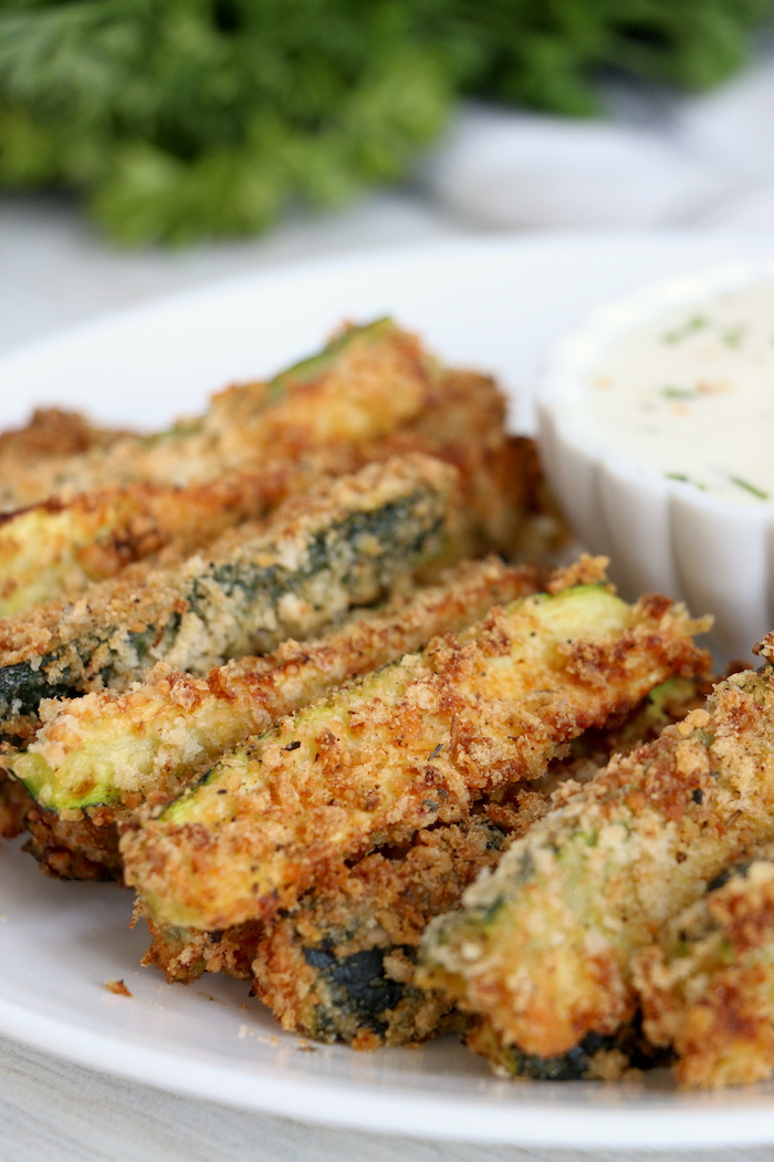 small plate of zucchini fries with ranch