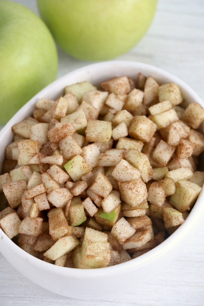 dish of chopped apples with cinnamon sugar