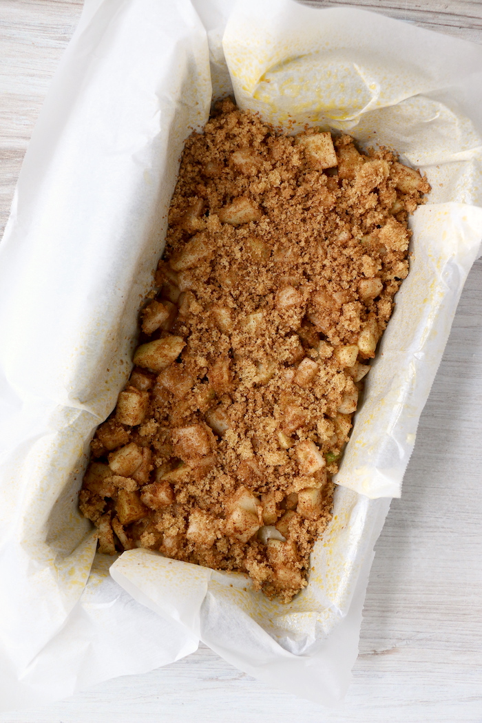 cinnamon sugar on top of fresh apple bread