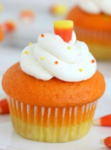 cupcake decorated like candy corn