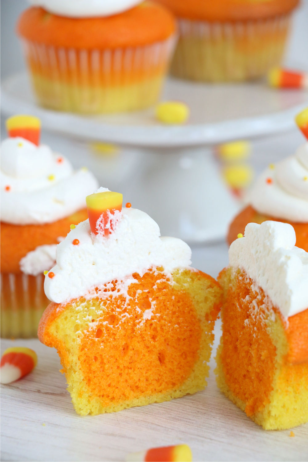 candy corn cupcake cut in half