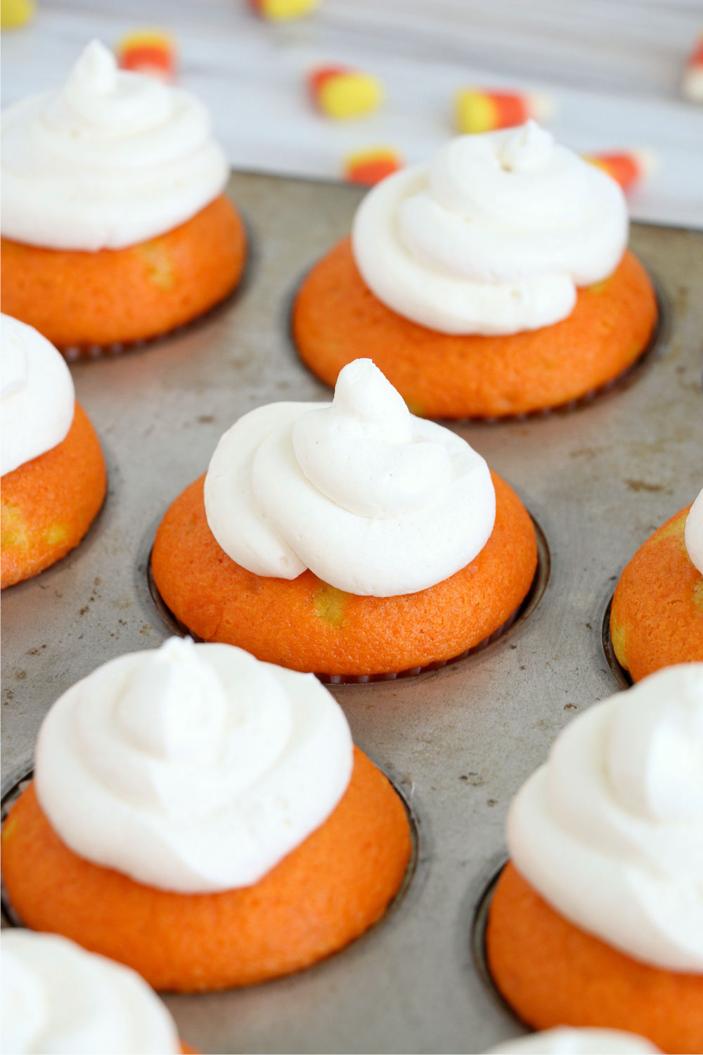 frosting on top of candy corn cupcakes