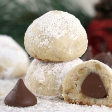 Stack of chocolate kiss snowball cookies