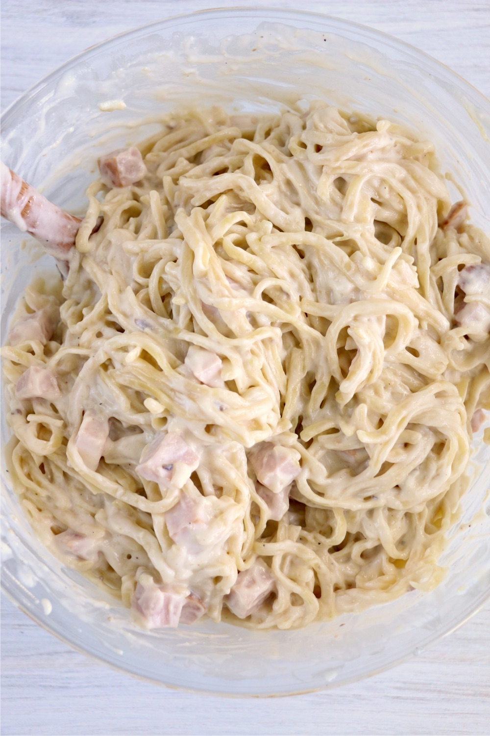 Turkey, noodles and sauce mixed together in bowl
