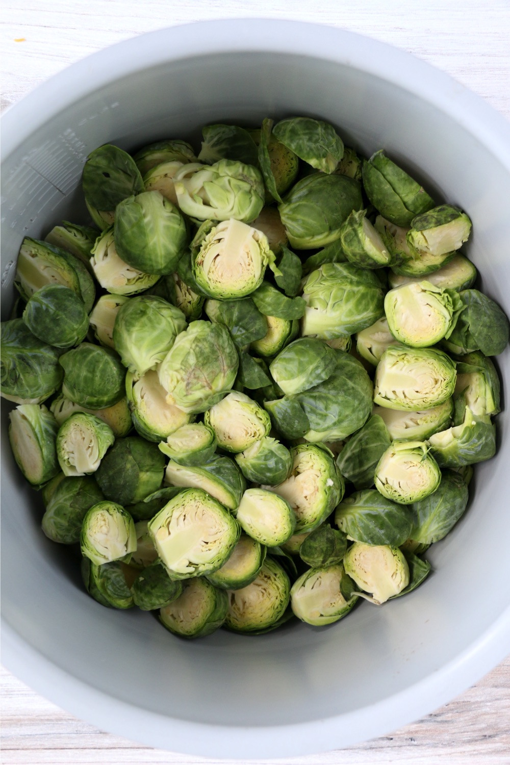 Ninja Foodi cooking pot with brussels sprouts