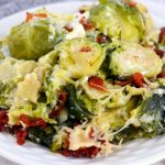 Brussels sprouts with bacon on a plate