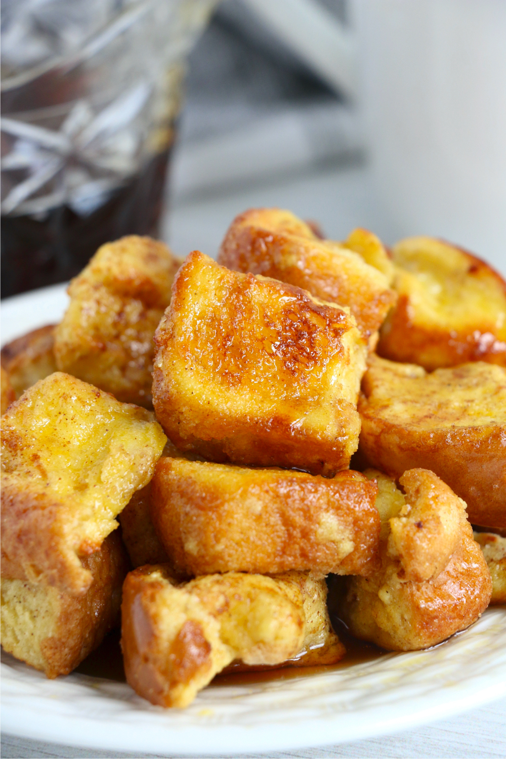 Stack of French Toast bites with syrup