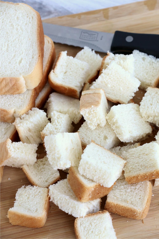 Pieces of cut up Brioche bread