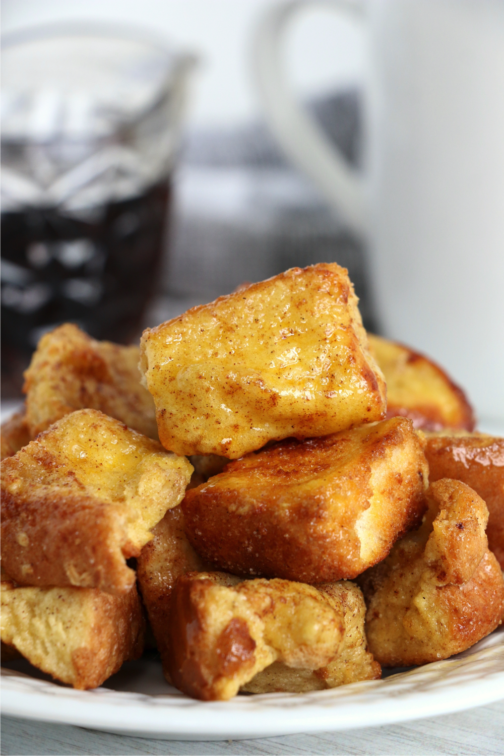 stack of French Toast bites on plate