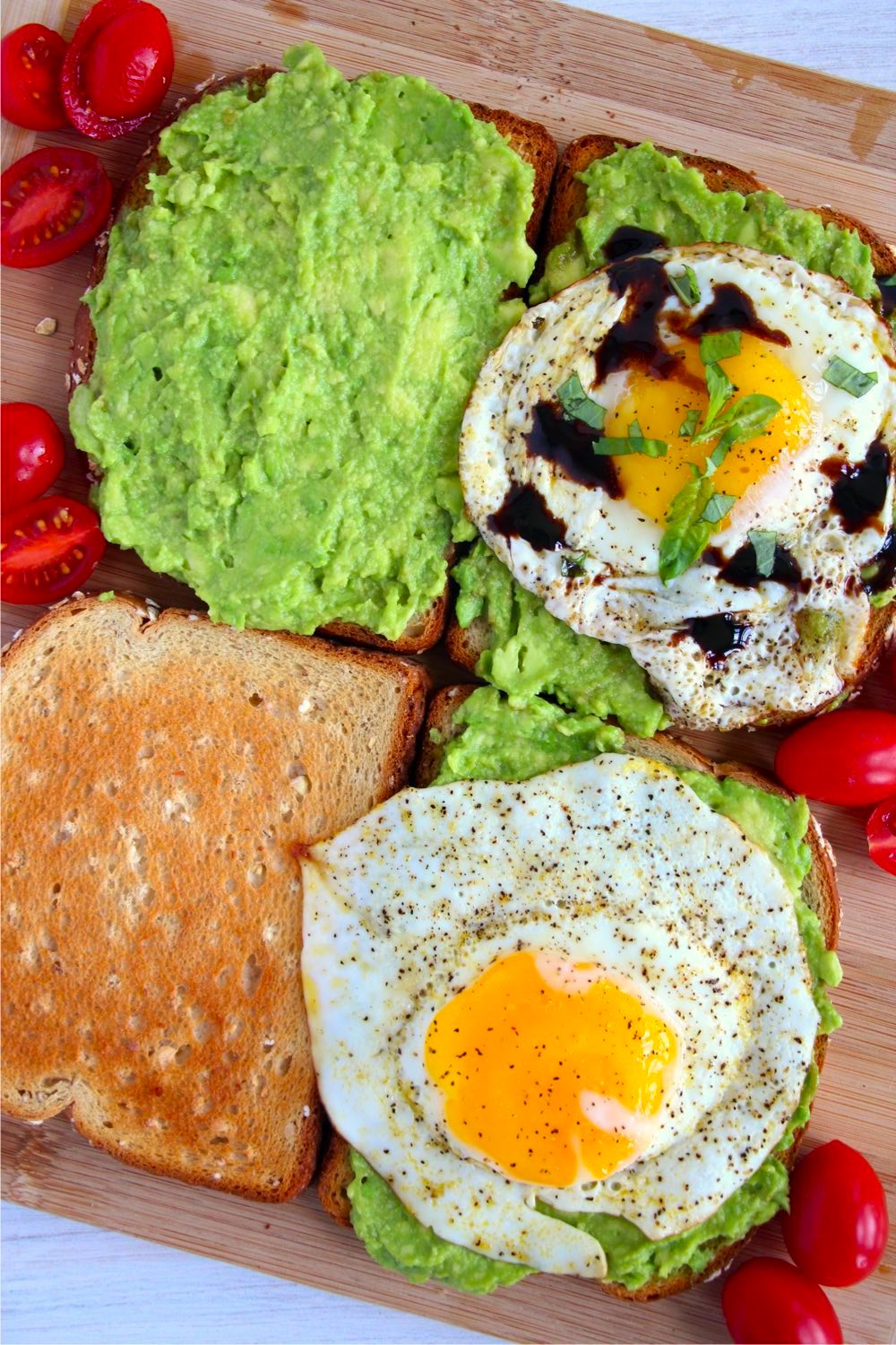 Assembling avocado toast with eggs