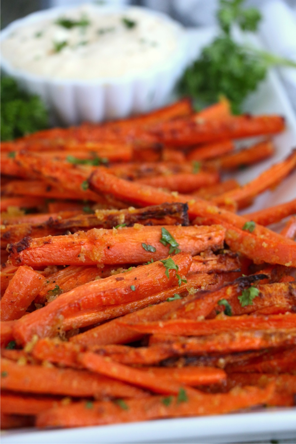 Close up of carrot fries on plate