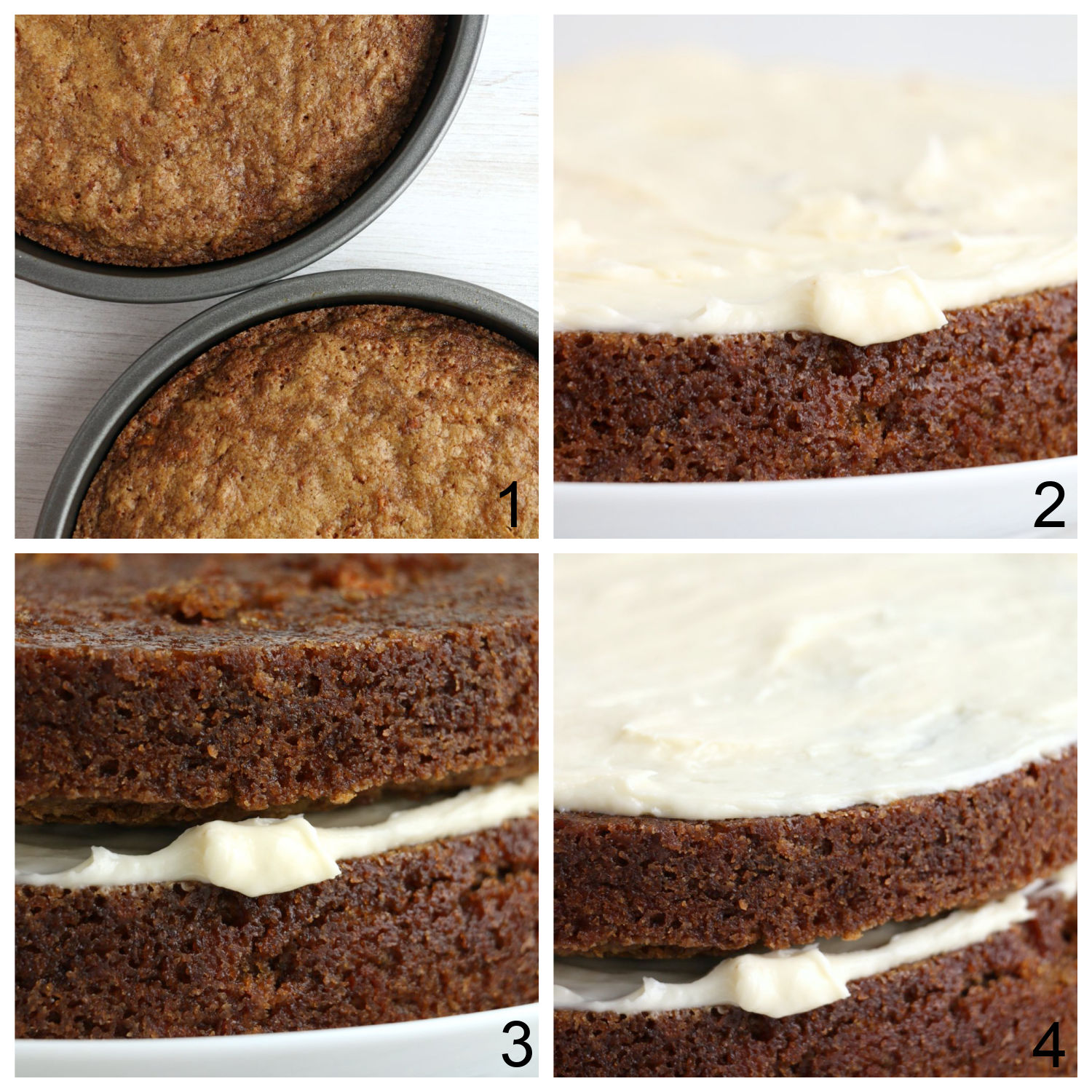steps to frosting a layered carrot cake