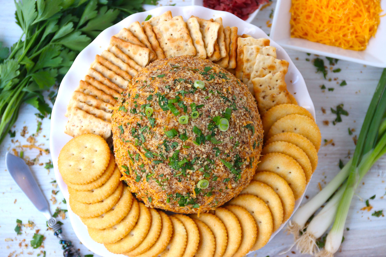 top shot of cheese ball and crackers
