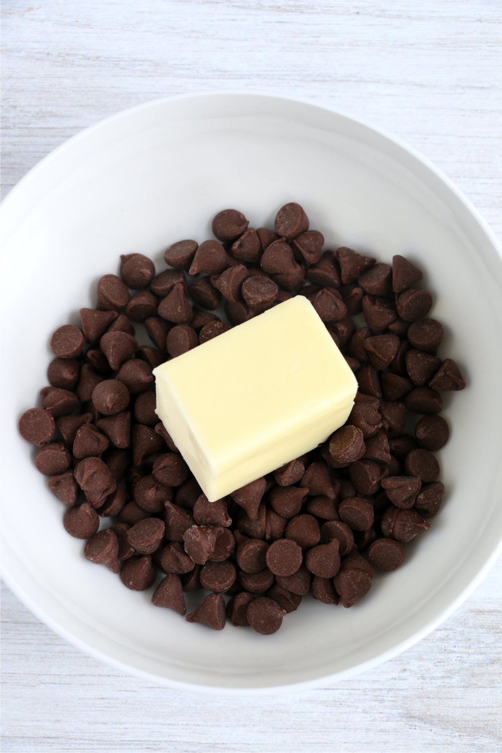 bowl with chocolate chips and butter
