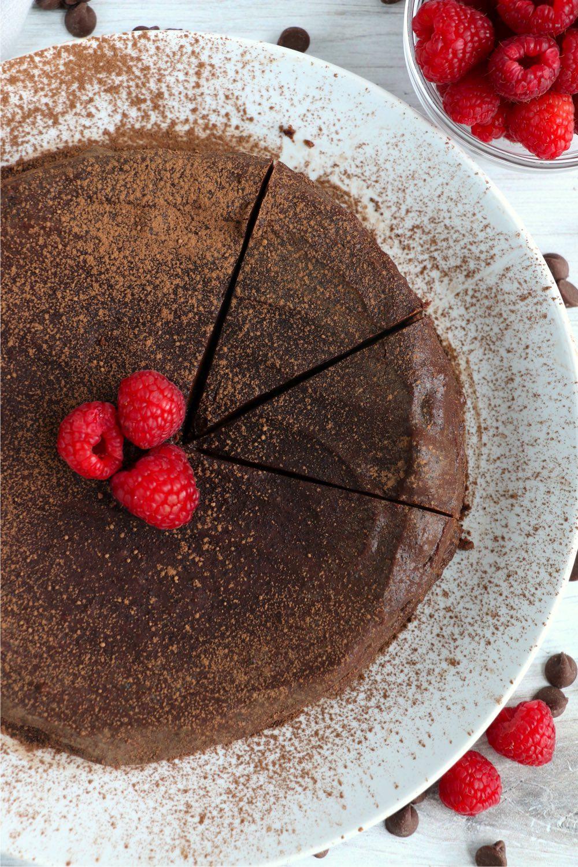top shot of flourless chocolate cake
