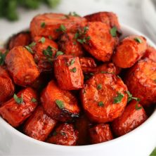 bowl of chopped roasted carrots