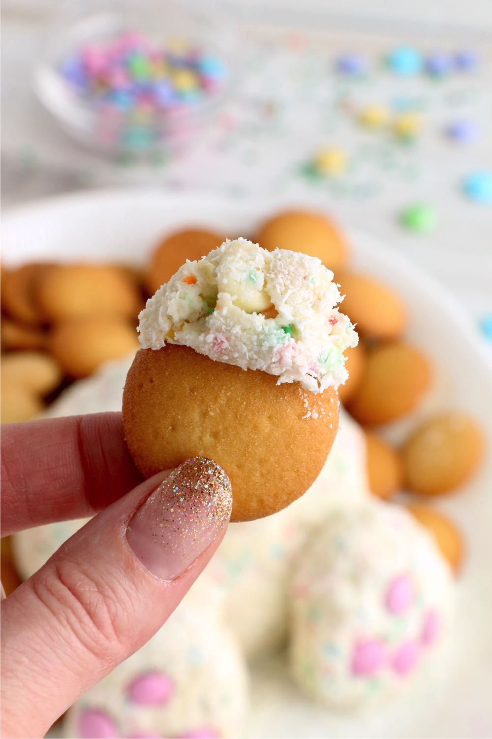 Easter dip on a vanilla wafer