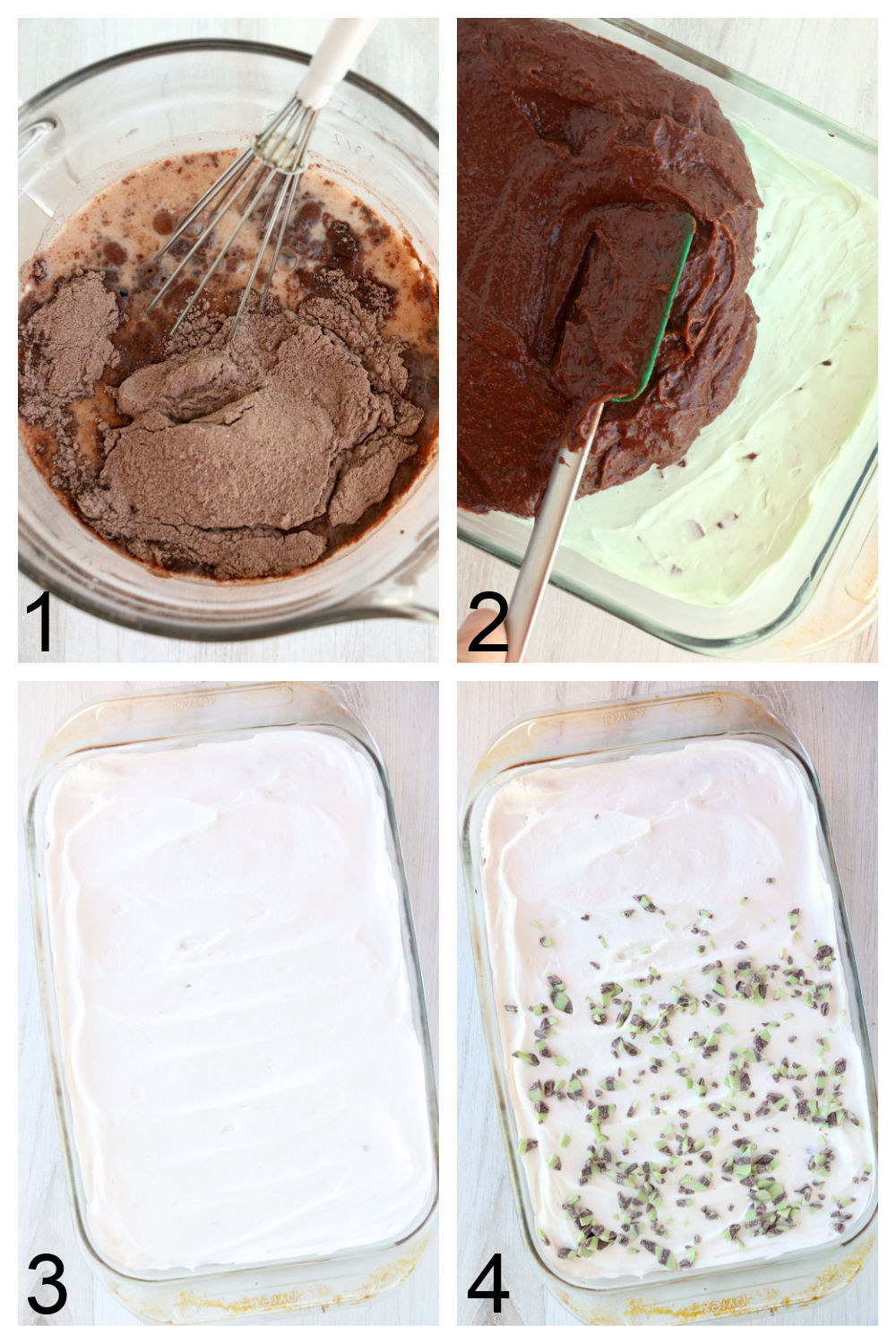 Steps to making mint chocolate lush dessert