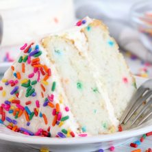 confetti birthday cake on a plate