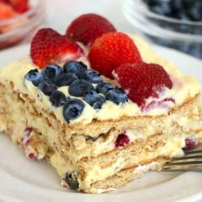 piece of layer cake with red, white and blue design