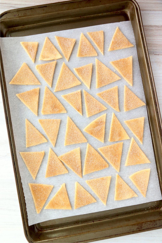 pie crust chips on baking sheet