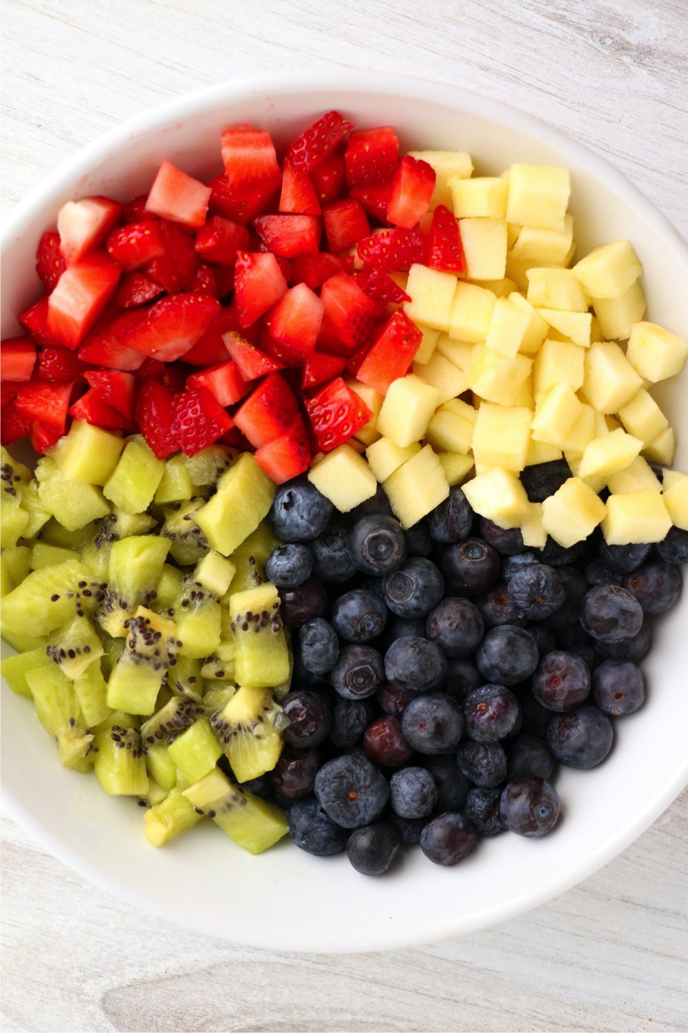chopped up fruit in bowl
