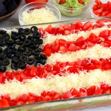 Taco dip decorated like the American flag