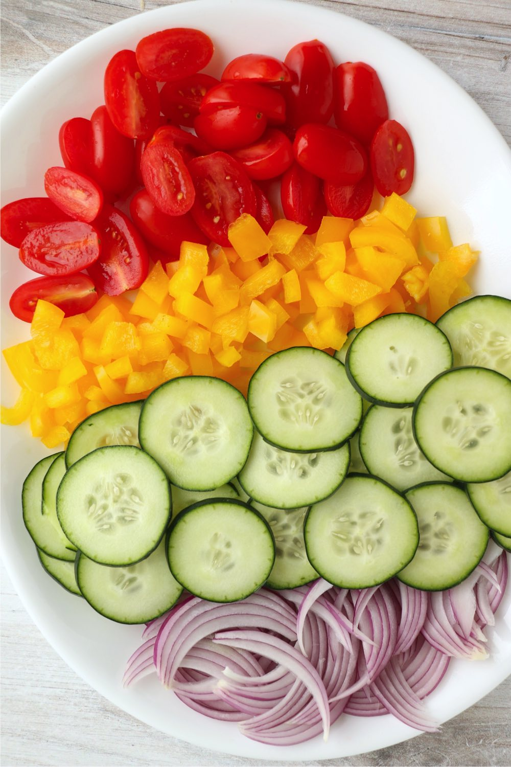 chopped up vegetables for a salad