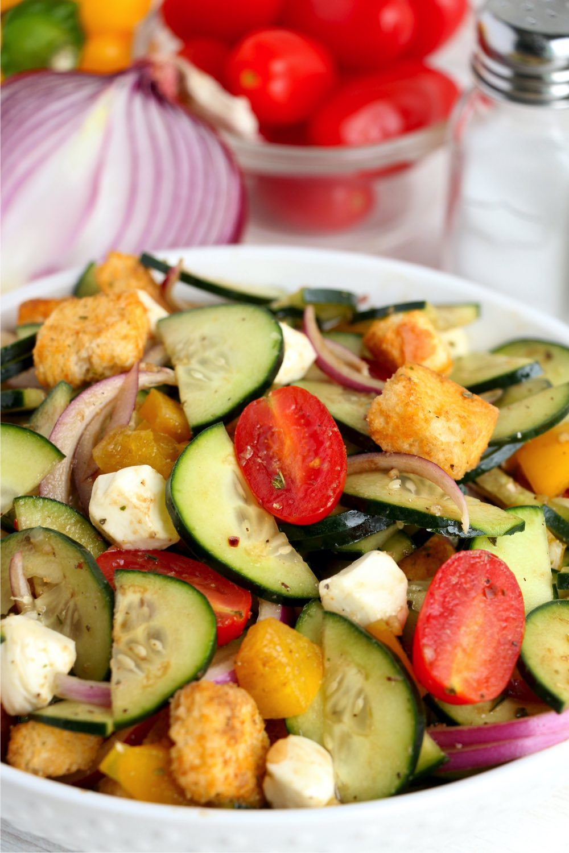 crisp panzanella salad for summer