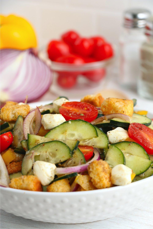 panzanella salad on a white plate